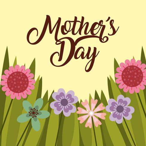 mothers day card with flowers and grass