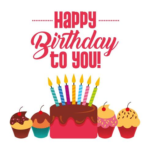 happy birthday to you card with cake with candles and cupcakes