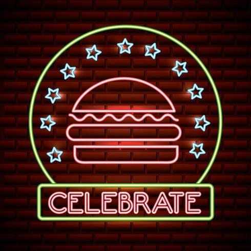 hamburguesa de neón con celebrar texto y estrellas vector
