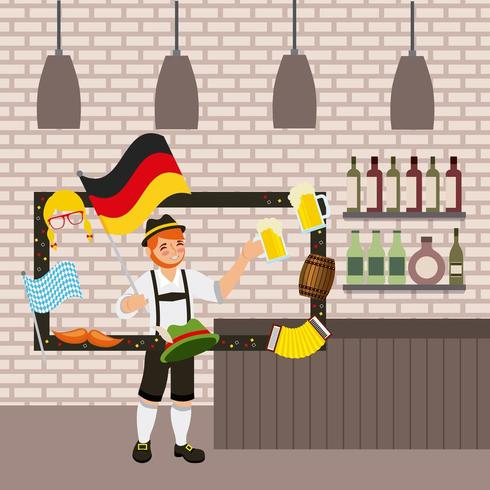 fête oktoberfest avec homme tenant une bière entourée de cadre avec des éléments allemands vecteur
