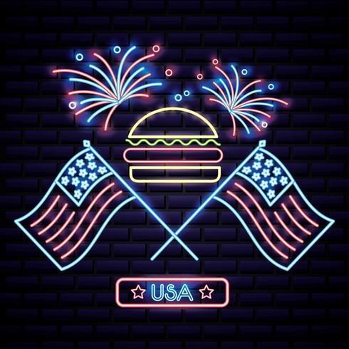 hambúrguer do dia da independência americana com duas bandeiras dos EUA e fogos de artifício