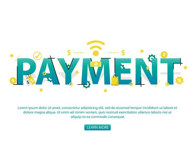 Contactless payment concept with Payment text and icons vector