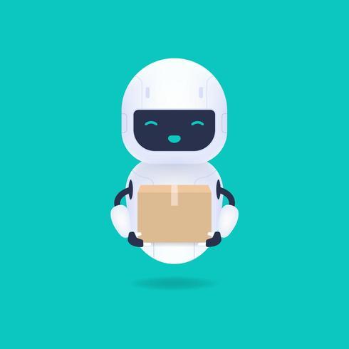 Blanc robot android amical tenant un colis vecteur