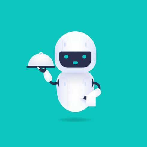 Robot androide amigable blanco sosteniendo una bandeja de servir vector