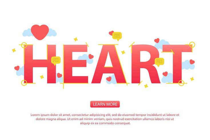 Valentine day background with Heart text and icons