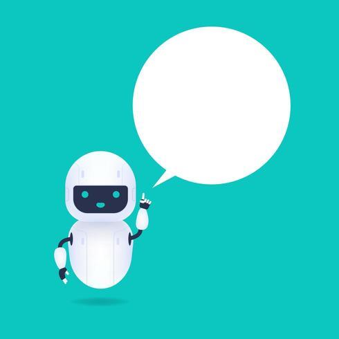 Weißer freundlicher androider Roboter mit Spracheblase