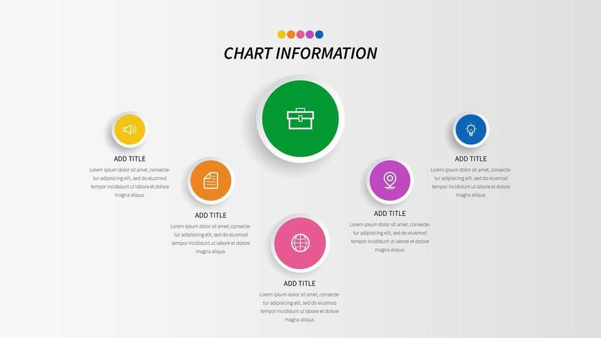 Informações do círculo colorido 6 gráfico de etapas