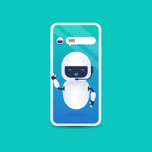 White friendly android robot say hi. Chatbot future concept vector