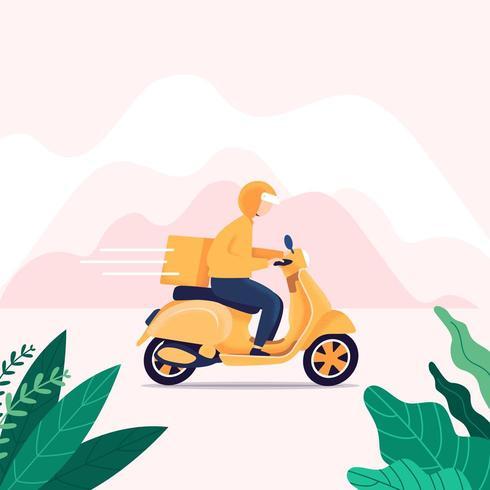 Entregador, montando uma scooter vetor