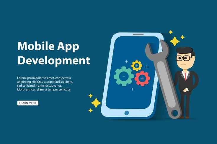 Mobile app development concept with man holding wrench and cellphone