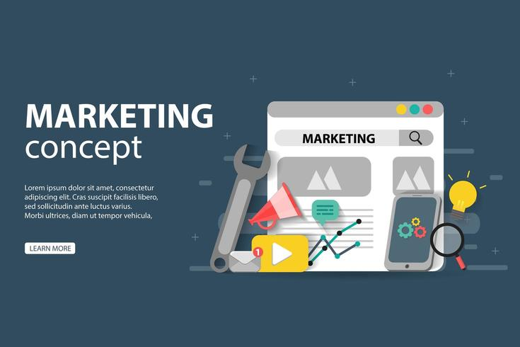 conceito de marketing digital com página da web, chave inglesa, telefone celular e outros ícones