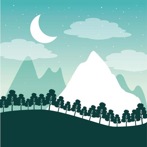 wanderlust travel landscape with mountains, trees and moon vector