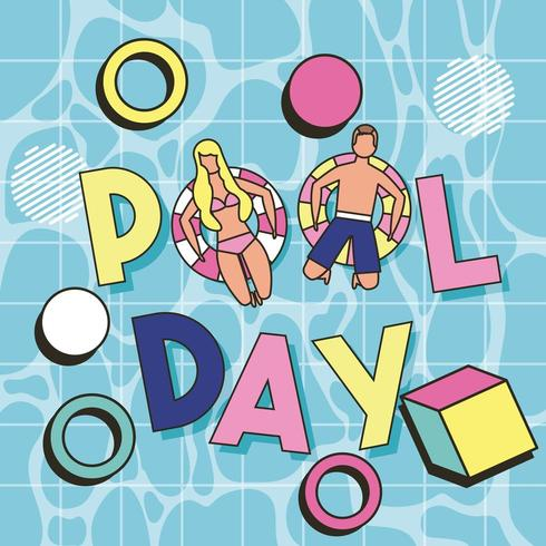 top down view man and woman floating in pool with pool day text