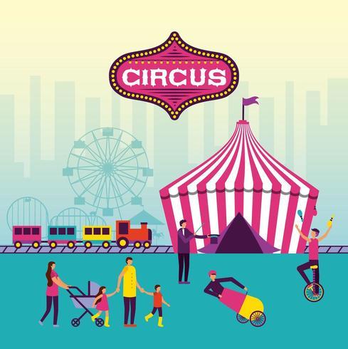 feira de circo com a família e artistas