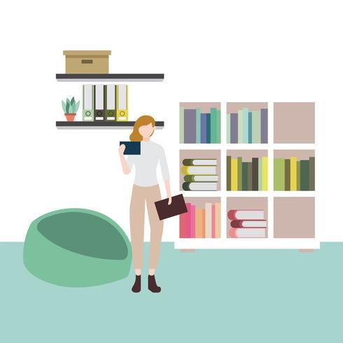 negócios escritório trabalho carrinho livros mulher