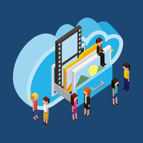 pessoas computação em nuvem vetor