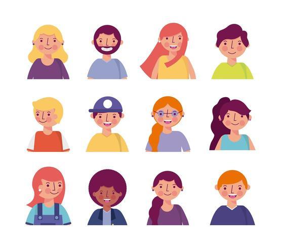 pessoas sorrindo conjunto de avatar vetor