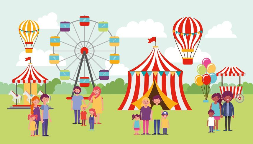 Families Enjoying Outdoor Circus