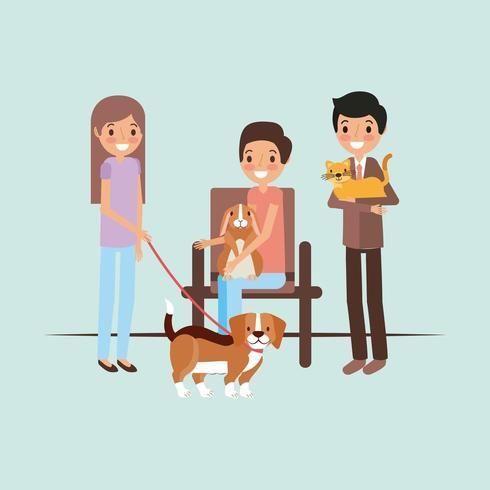 propietarios con gato perro y conejo esperando mascota y veterinaria