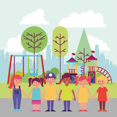 Kids in Park Smiling