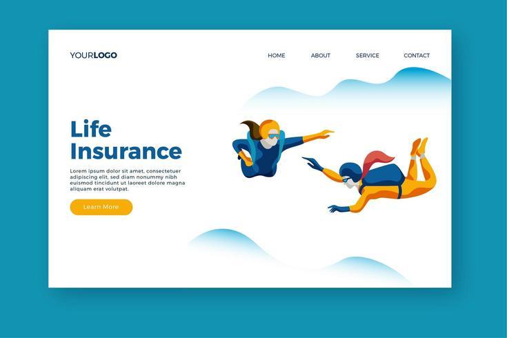 Lebensversicherung Landing Page Template vektor