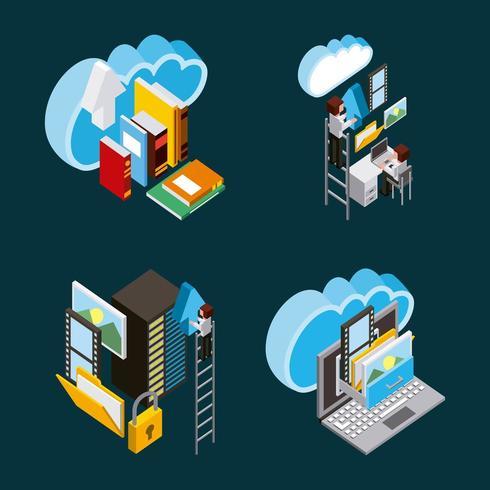 archiviazione cloud computing persone vettore
