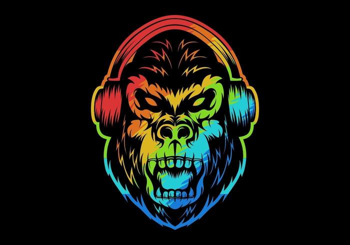 colorful angry gorilla wearing headphones