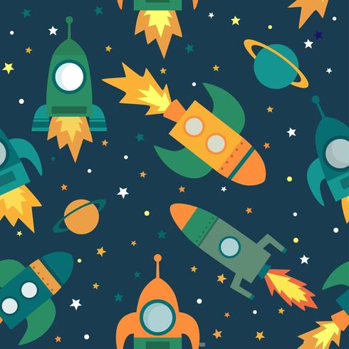 Seamless pattern with space, rockets, planets and stars