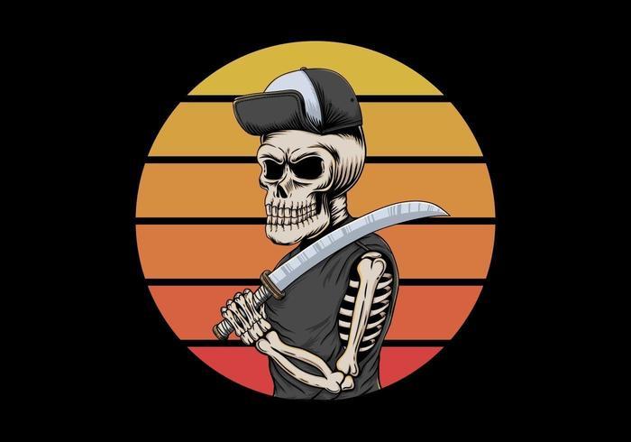 Skull gangster holding knife in front of retro sunset