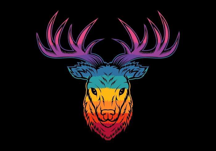 cabeza de ciervo colorido