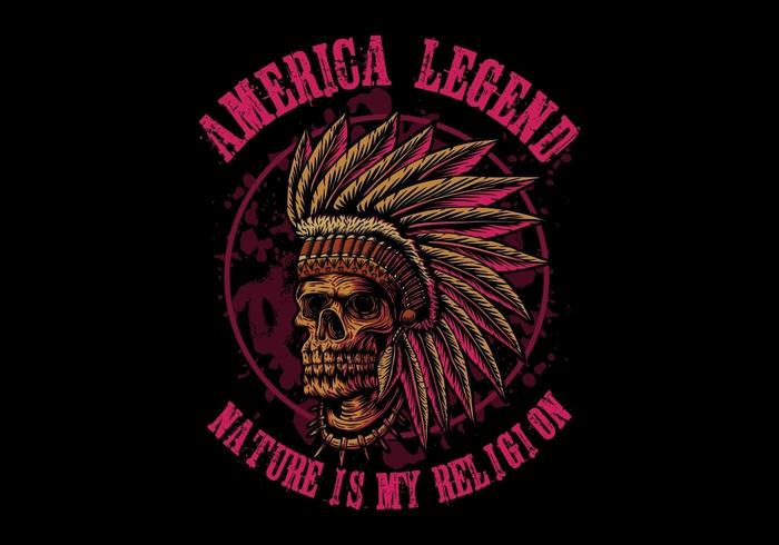 Lenda da América do crânio indiano vetor