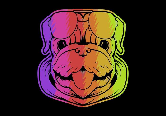 colorful pug dog head