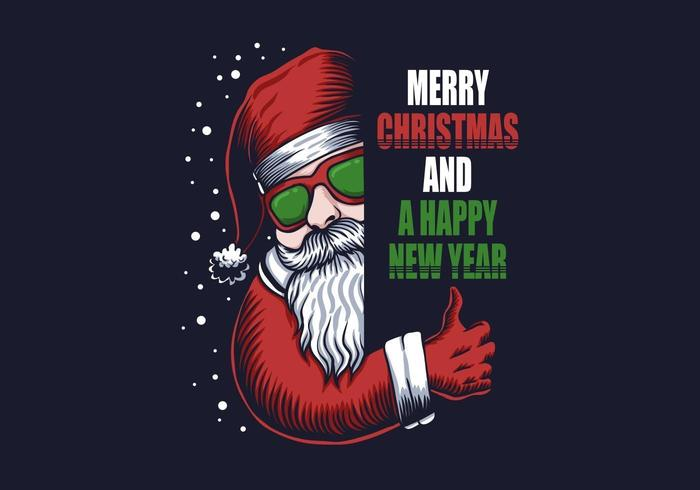 Santa with eyeglasses and merry christmas and a happy new year text