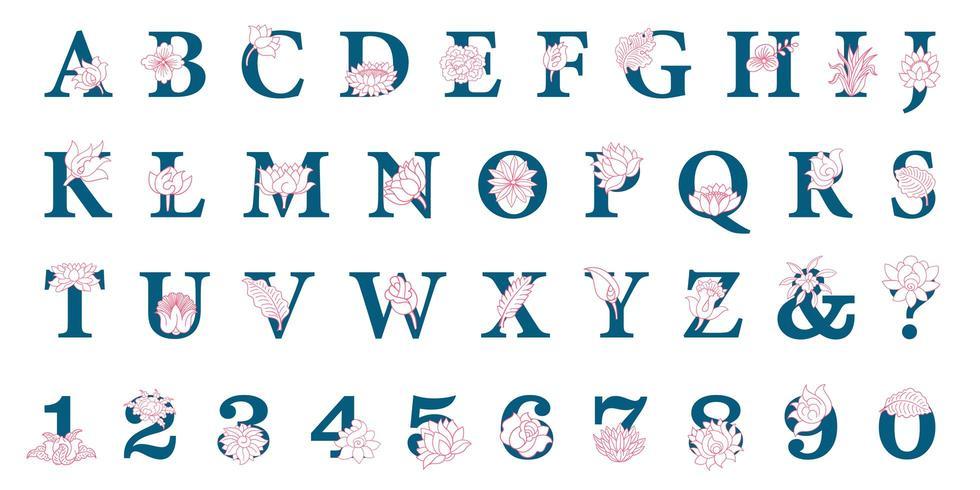 Hand drawn elegant alphabet with flowers