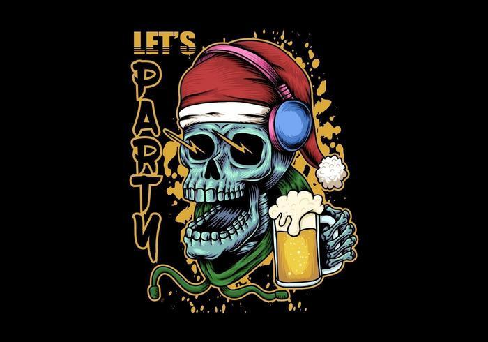 Skull beer christmas illustration