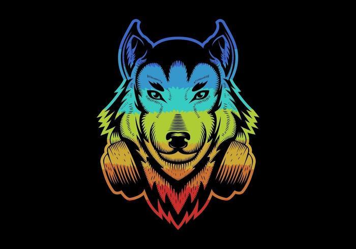Colorful Wolf wearing headphones