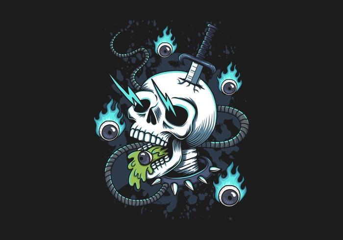 Skull fire eye illustration