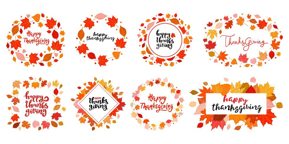 Set of  Hand Drawn Autumn frames. Happy Thanksgiving Day decoration with bright leaves.