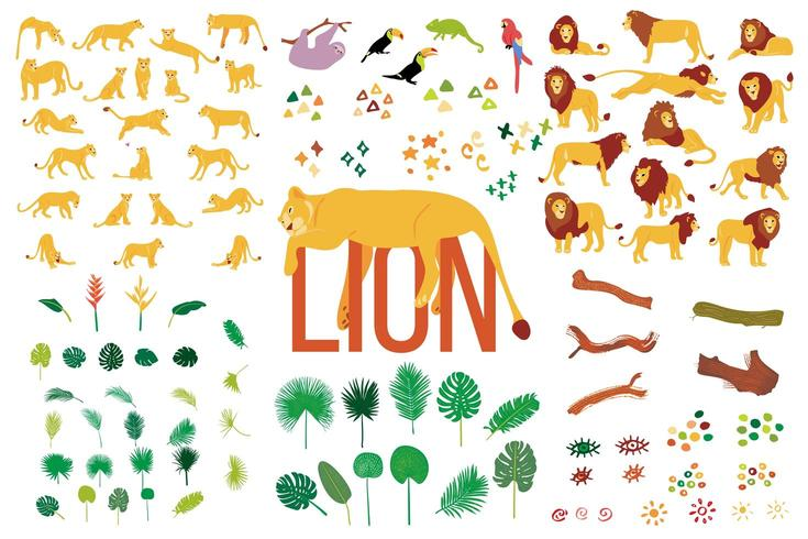 Hand drawn flat collection of Lions and tropical plants isolated on white background.