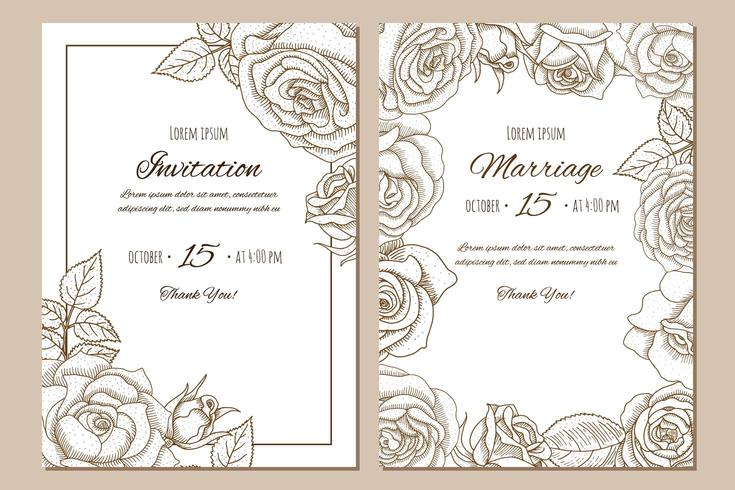 Set of vintage hand drawn wedding invitation with roses.