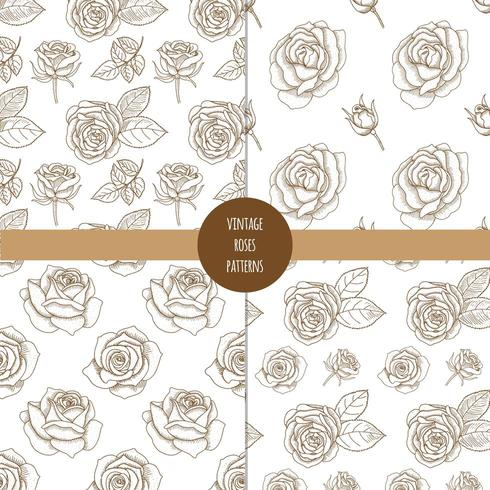 Set of vintage hand drawn seamless patterns with roses.