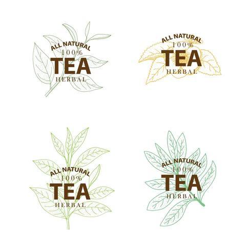 Árvore de chá. Conjunto de mão desenhada etiquetas vintage, isoladas no fundo branco.