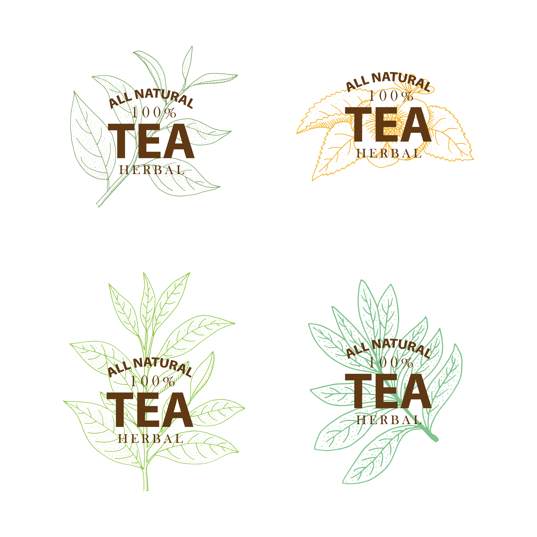 Hand Drawn Organic Food Label Set: Tea Tree. Set Of Hand Drawn Vintage Labels Isolated On