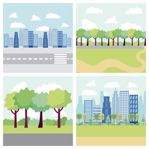 edificios de banners de parques y ciudades vector