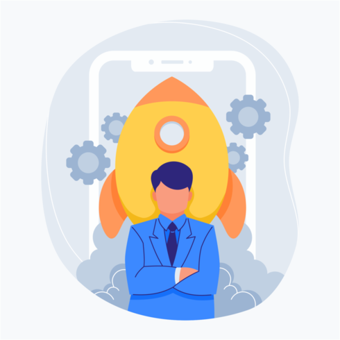 Startup man in front of phone and rocket flat illustration vector