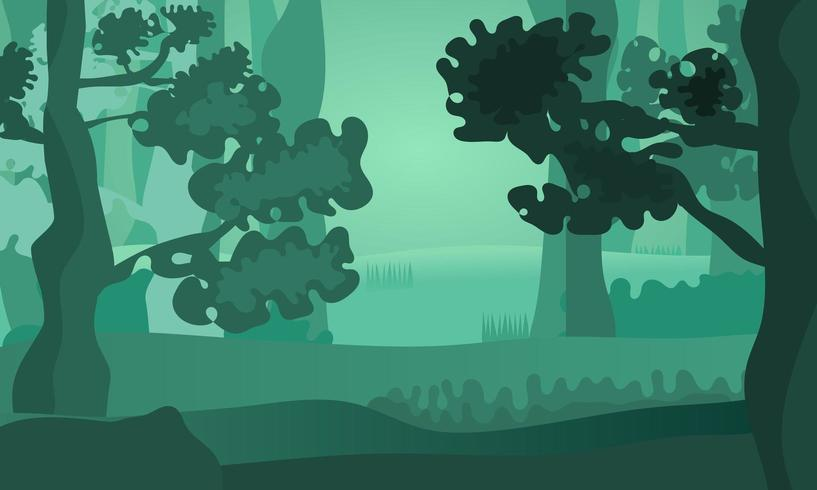 Modern green abstract shapes forest landscape
