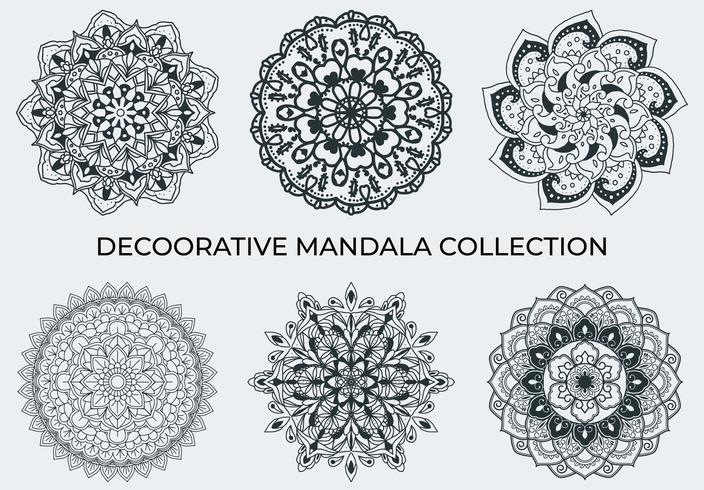 Decoorative Mandalas collection in black and white