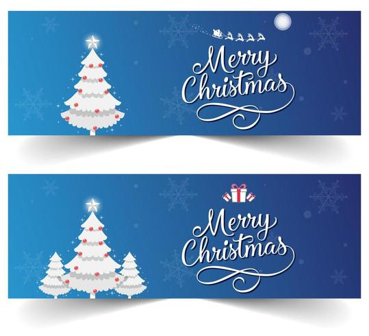 Blue Christmas Banner set with Snowflakes, Presents and Santa's Sleigh vector