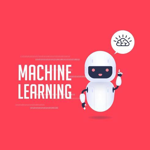 Robô android amigável branco com ícone do cérebro na bolha do discurso.