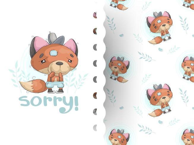Cartoon style illustration of little teddy fox crying with pattern